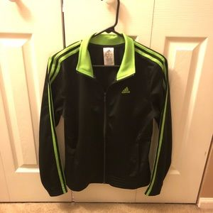 Adidas Neon Green 3 Stripe Black Track Jacket